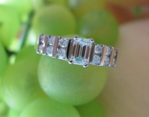 bar set engagement ring, emerald cut engagement ring york pa