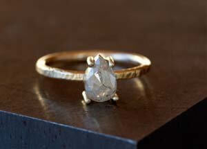 pear engagement ring hammered finish