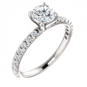 french set diamond engagement ring