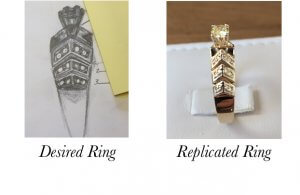 sketch design ring, jewelry from a drawing, custom jewelry sketch