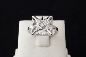 square vintage ring, vintage engraved diamond ring, duplicate lost ring