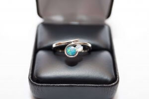 blue opal and moonstone engagement ring, swoop ring, alternative stone engagement ring