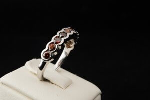 custom interchangeable ring, red diamond ring