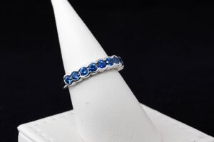 partial bezel custom ring, blue sapphire interchangeable ring