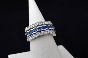 white diamond and sapphire custom ring, interchangeable gemstone ring