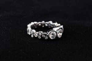 bubble ring, bezel set diamonds, custom bubble diamond shank
