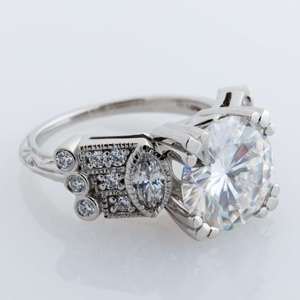 art deco engagement ring, marquise side stone art deco engagement ring, bezel and fish prong engagement ring