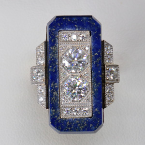 art deco ring, lapis lazuli and diamond art deco ring, art deco engagement ring
