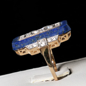 lapis lazuli and diamond ring, art deco jewelry