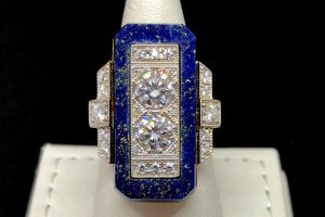 lapis lazuli halo round diamond gold ring