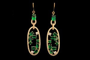 custom oval emeralds and round diamonds dangle yellow gold earrings