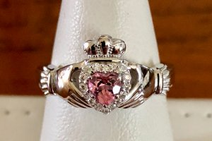 heart pink topaz with halo in claddagh design