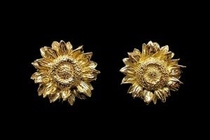 yellow gold sunflower face earrings