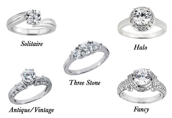 Solitaire Engagement Ring Halo Three Stone Vintage