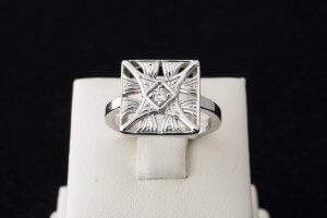 square vintage ring, vintage engraved diamond ring, duplicate lost ring