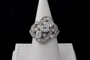 custom vintage ring, platinum, milgrain, three stone diamond ring, duplicate wedding ring