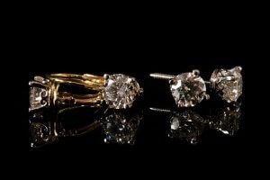 duplicate earrings, yellow gold and platinum earrings, lever back diamond earrings, custom vintage crown earrings