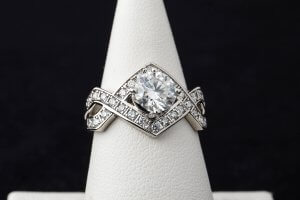 custom design, family engagement ring duplication, moissanite and diamond engagement ring