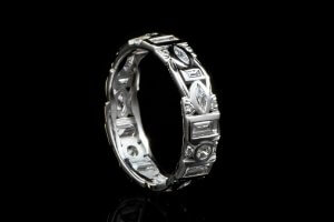 vintage wedding ring with marquise round and baguette diamonds