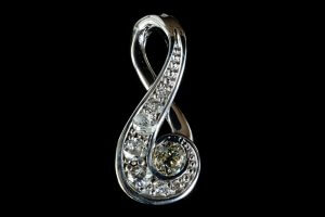 old euro cut diamonds, repurposed diamond jewelry, custom white gold diamond pendant