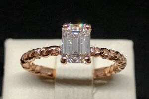diamond accented rose gold rope engagement ring