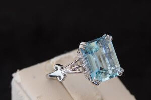 large emerald cut aquamarine engagement ring